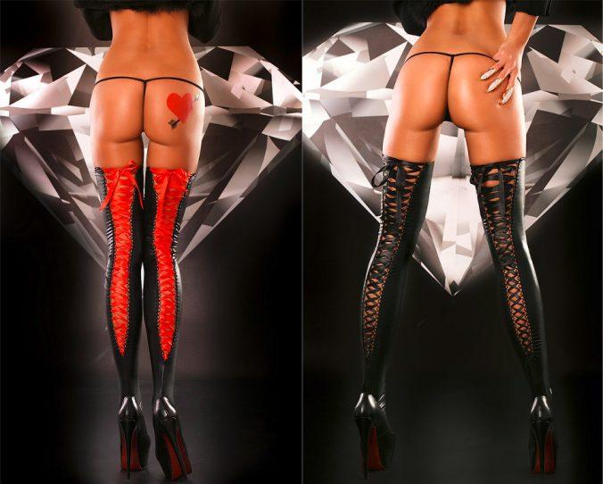 Wetlook Lacing Stockings in Schwarz-Rot und Schwarz von Lolitta