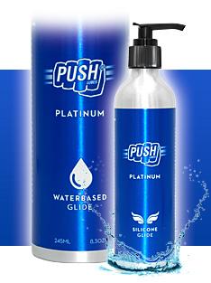 Zwei Metallflaschen der Gleitgel Push Platinum Lubes