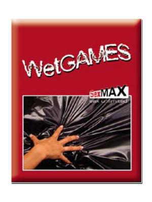 Verpackung mit Produktbild der Wet Games Latexmatte Sex-Laken (schwarz)